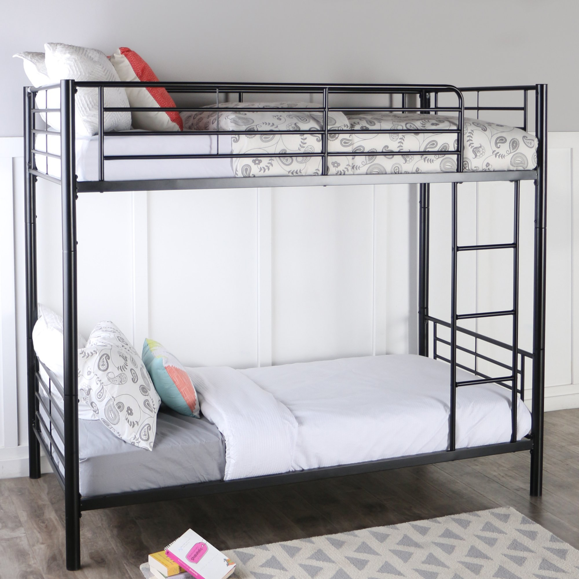 Sturdy Metal Twin-over-Twin Bunk Bed in Black Finish by Home Accent Furnishings (Image #3)