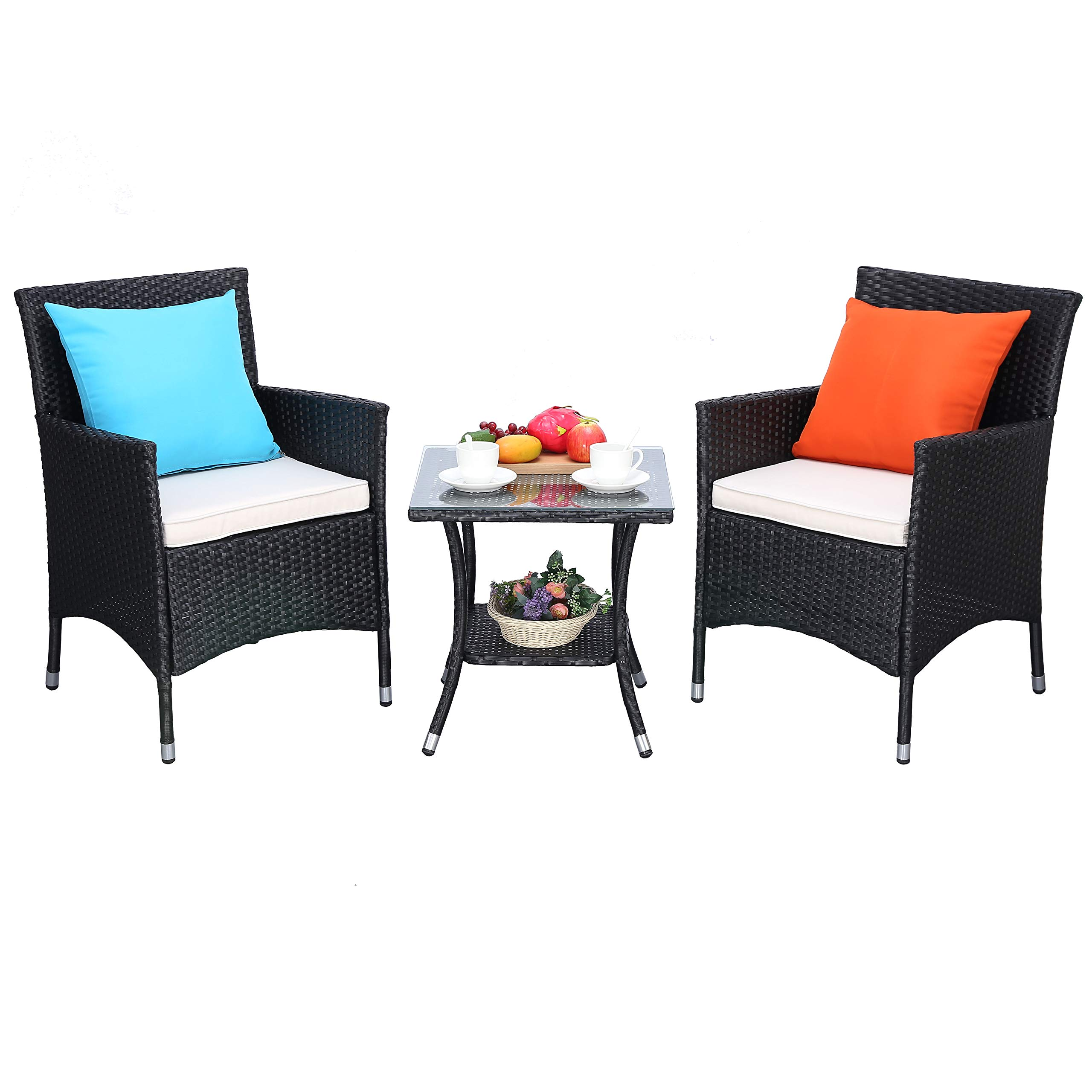 Do4U 3 Pieces Patio Furniture Set Outdoor Wicker Conversation Set Cushioned PE Wicker Bistro Set Rattan Chairs with Coffee Table | Porch, Backyard, Pool Garden | Dining Chairs (961-BLK-BEG)
