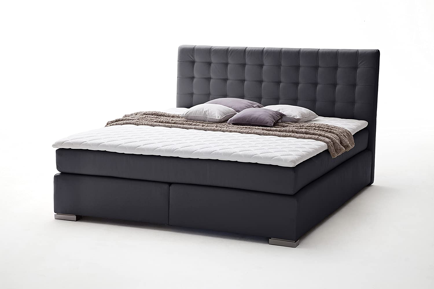 sette notti boxspringbett 200x200 schwarz boxspringbett. Black Bedroom Furniture Sets. Home Design Ideas