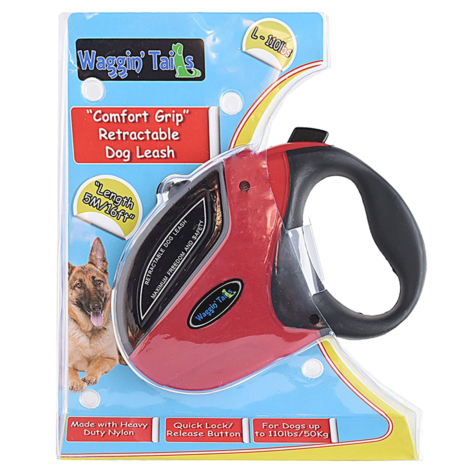 """Comfort Grip"" Retractable Dog Leash 16FT Premium Nylon Tape Leash for Small, Medium or Large Dogs up to 110lbs by Waggin Tails Co The Noble Fox Co"