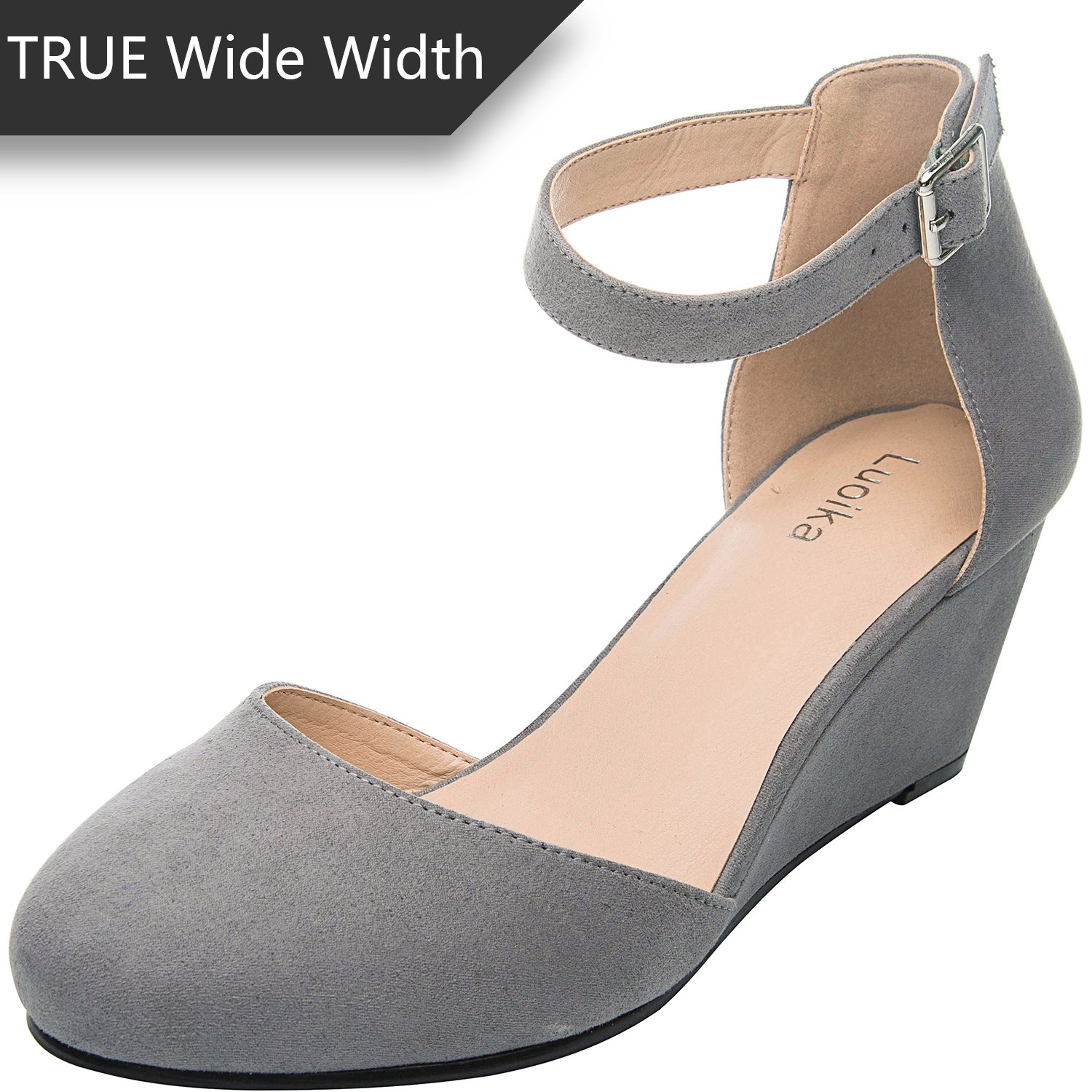 Luoika Women's Wide Width Wedge Shoes - Comfortable Mid Low Heel Ankle Buckle Strap, Plus Size Heel Pump Round Closed Toe(180323,Grey,size8.5)