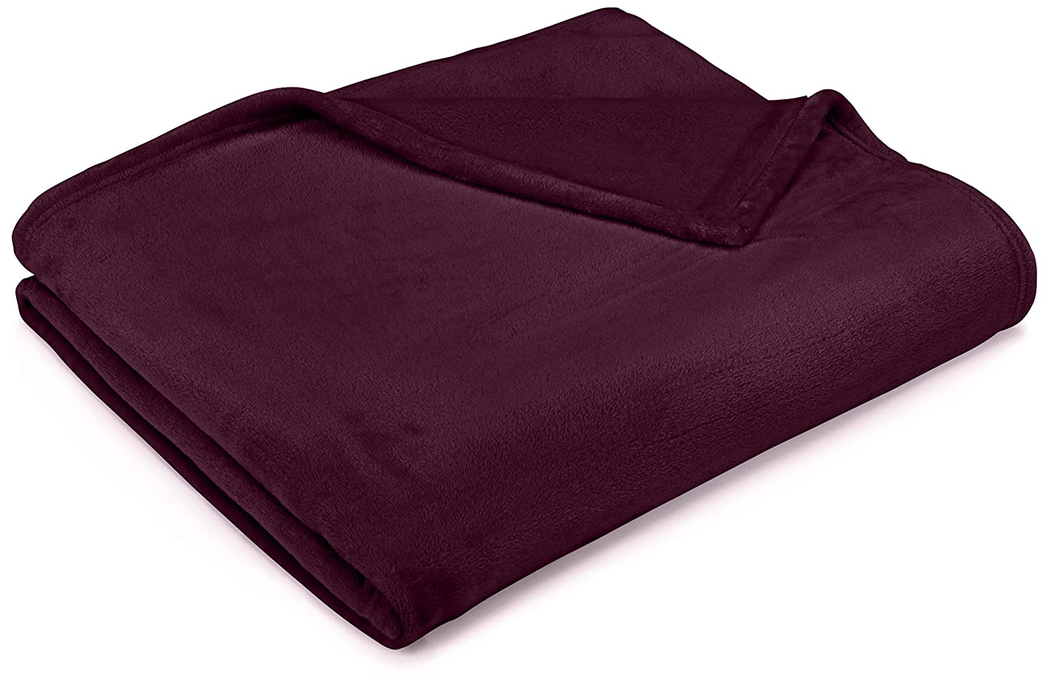 "Pinzon Velvet Plush Throw Blanket, 50"" x 60"", Aubergine"