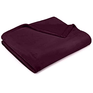 Pinzon Velvet Plush Throw Blanket, 50  x 60 , Aubergine