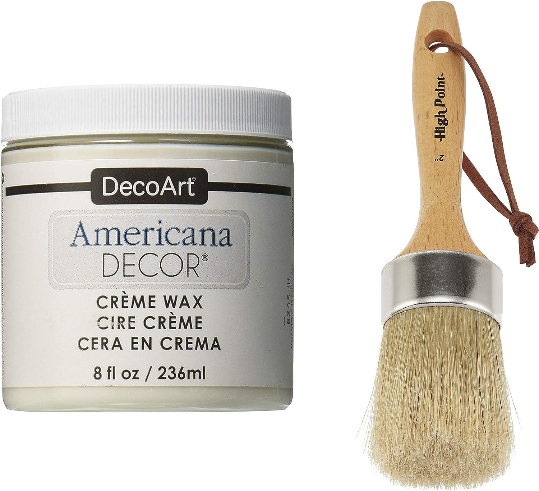 "DecoArt Americana Décor Crème Wax and 2"" Chalk Wax Finishing Paint Brush Set - 8oz - Clear"