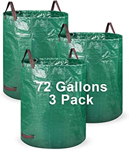 Garden Waste Bag, LAMA [3Pack 72 Gallons] Reusable Garden Bags Heavy Duty Gardening Bags, Leaf Yard Waste Container Bag with 4 Handles for Gardening Lawn Pool Waste Bin (Green)