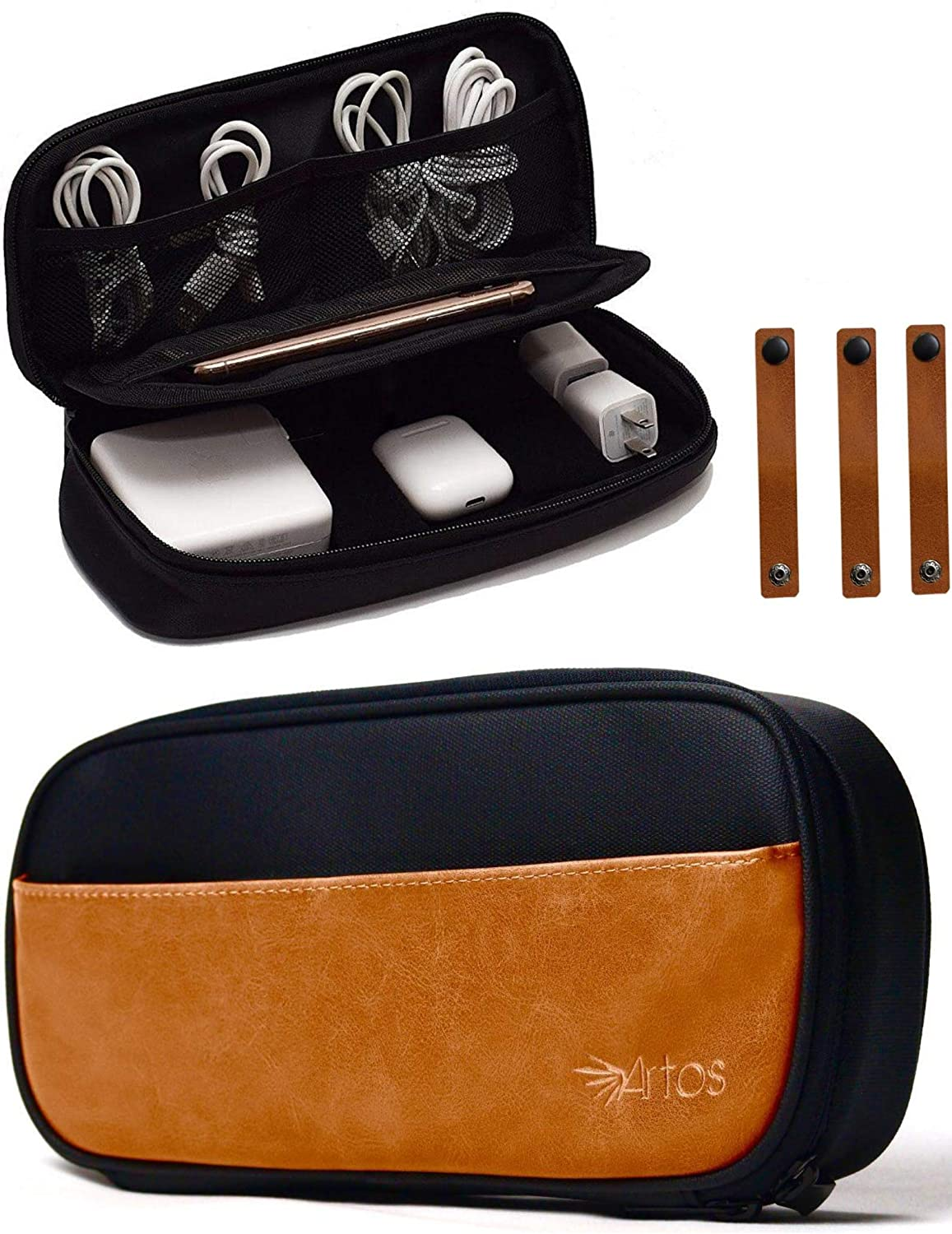 Pu Leather & Canvas Electronics Organizer Case Accessories Bag W/ 3 Leather Cable Straps | Tech, Gadget Zipper Pouch| for Cord, Phone, Tablet, Laptop Chargers, Power Bank