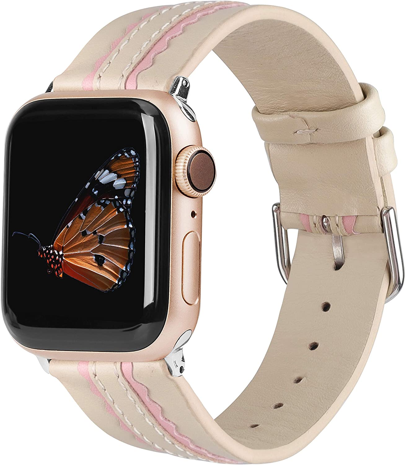 Wearlizer Genuine Leather Bands Compatible with Apple Watch 38mm 40mm 42mm 44mm, Soft Two Stripe with Wide Women Wristband Strap Replacement and Silver Adapter for iWatch Series 6 5 4 3 2 1 (Beige+Pink,38mm/40mm)