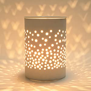 Bobolyn Ceramic Electric Wax Melt Warmer Candle Waxing Warmer Burner Melt Wax Cube Melter Fragrance Warmer- Ideal Gift for Wedding, Spa and Aromatherapy (Halo House)