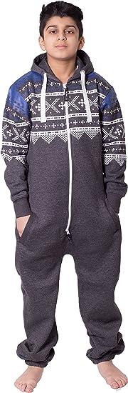 Mymixtrendz/® Unisex Boys Kids Plain Onesie Zip UP All in One Hooded Jumpsuit 7-13
