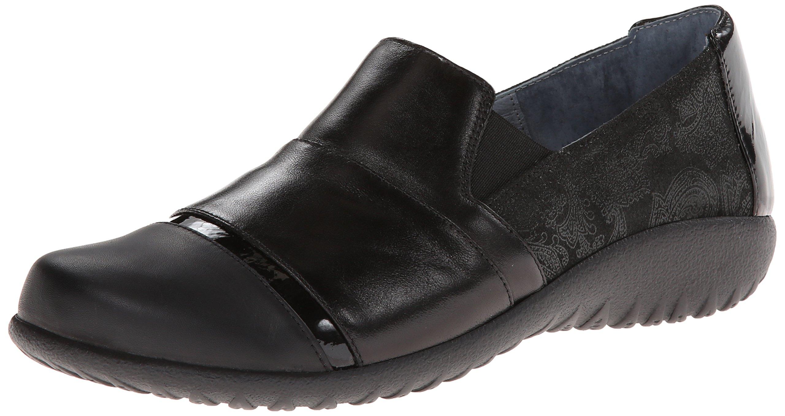 Naot Women's Miro Flat, Black Lace Leather/Black Leather/Black Patent Leather, 41 EU/9.5-10 M US
