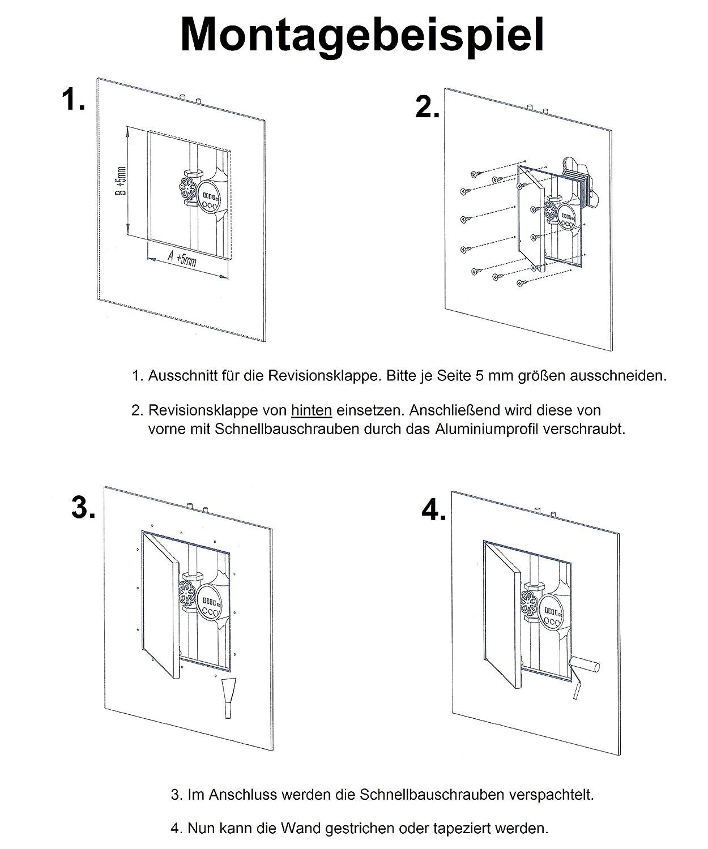 Revisionsklappe GK-Einlage 200 x 200 mm Gipskarton 12,5 mm KRAL2 ...