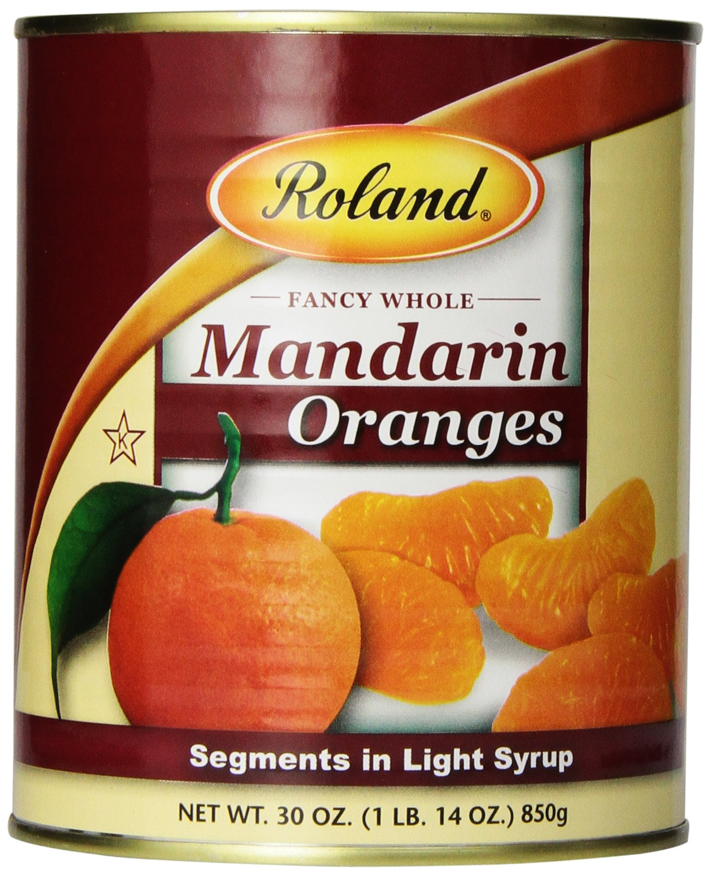 Roland Mandarin Oranges, Segments in Light Syrup, 30 Ounce (Pack of 6)