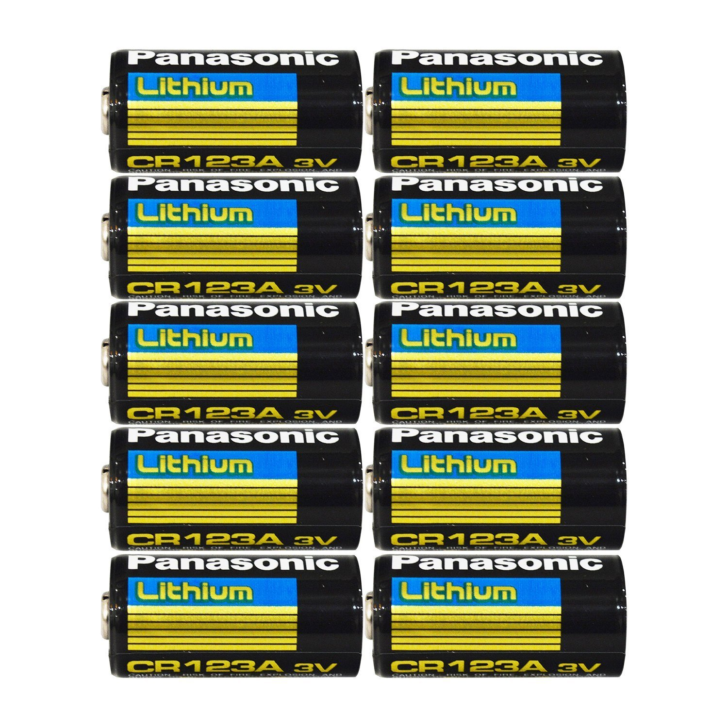 "Panasonic CR123A Lithium 3V Photo Lithium Batteries, 0.67"" Dia x 1.36"" H (17.0 mm x 34.5 mm) (Pack of 10)"