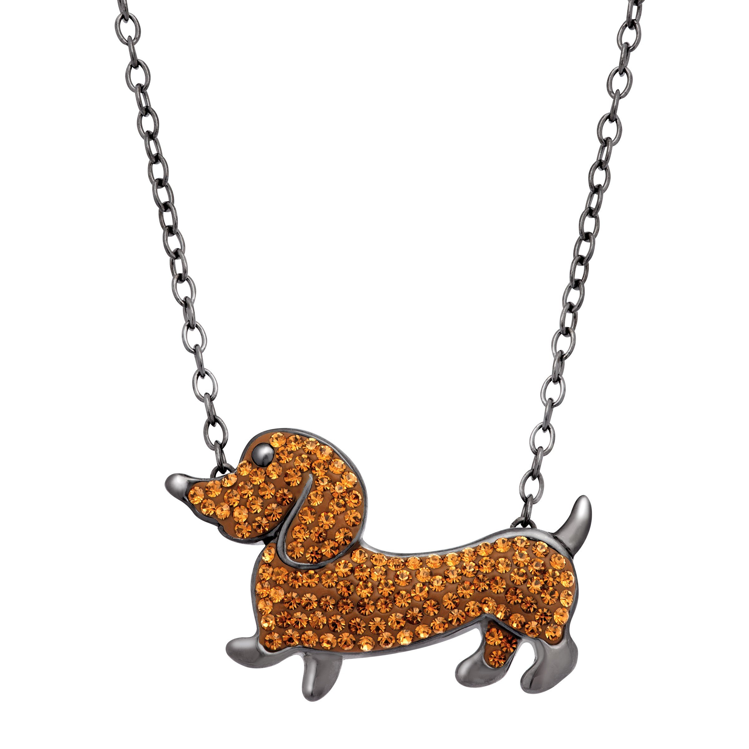 Crystaluxe Dachshund Necklace with Swarovski Crystals in Sterling Silver