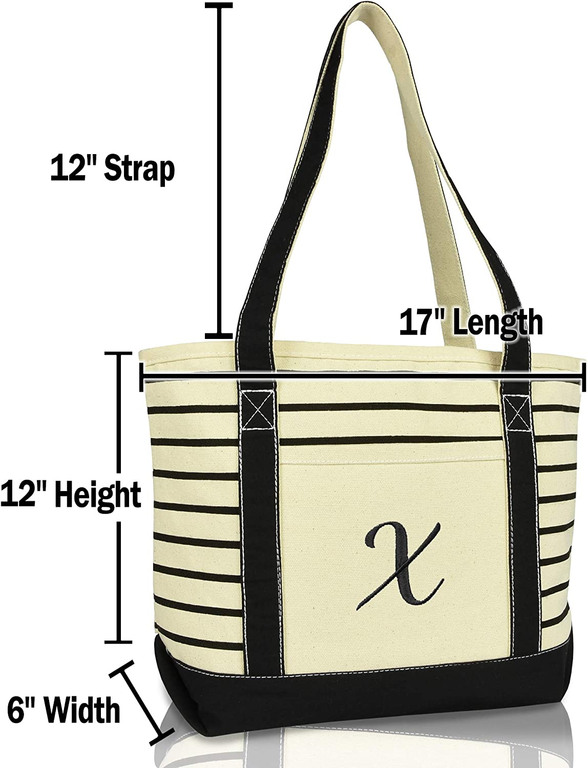 DALIX 23 Large Striped X-Initial Tote Bag Womens Ballent Letter X in Black