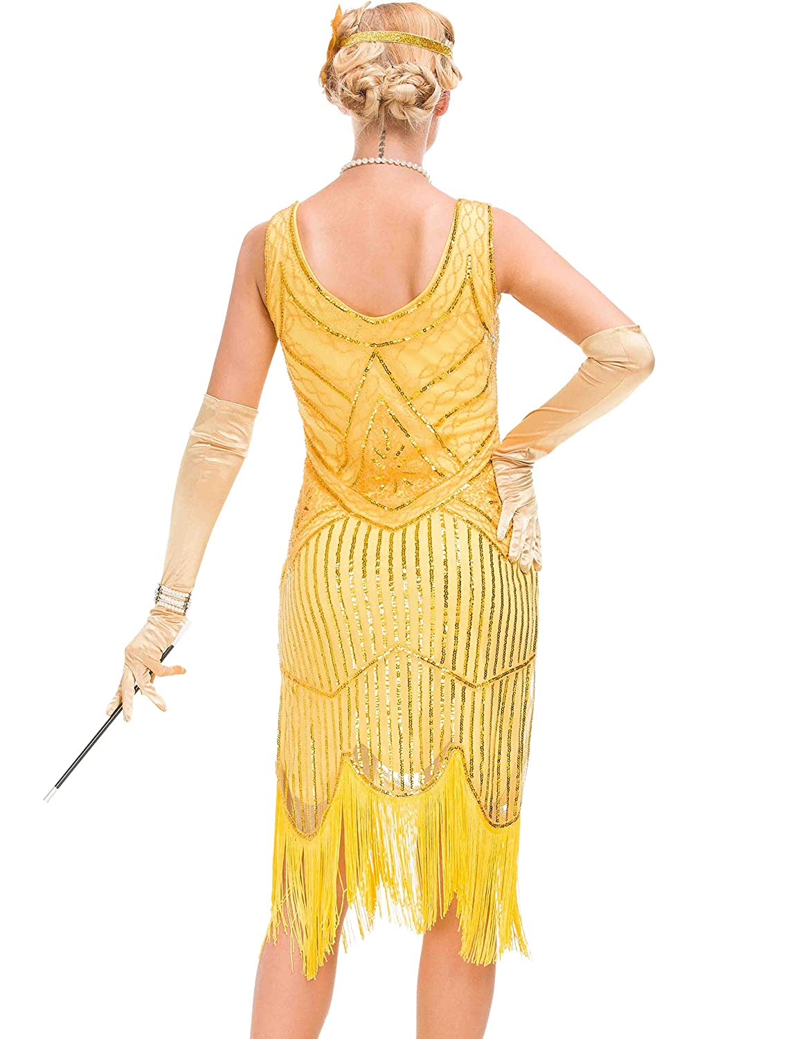 Womens 1920s Vintage Dress Fringed Great Gatsby Dress