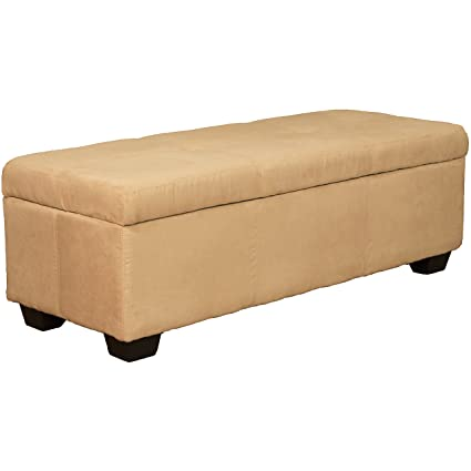 Remarkable 48 X 19 X 18 High Tufted Padded Hinged Storage Ottoman Bench Microfiber Suede Khaki Creativecarmelina Interior Chair Design Creativecarmelinacom