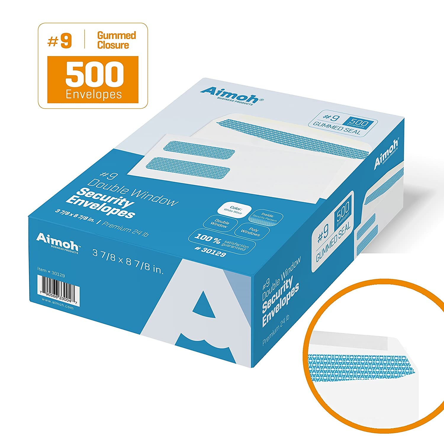 #9 Double Window Security Business Mailing Envelopes for Invoices, Statements and Legal Documents - GUMMED Closure, Security Tinted - Size 3-7/8 x 8-7/8 - White - 24 LB - 500 Count (30129)