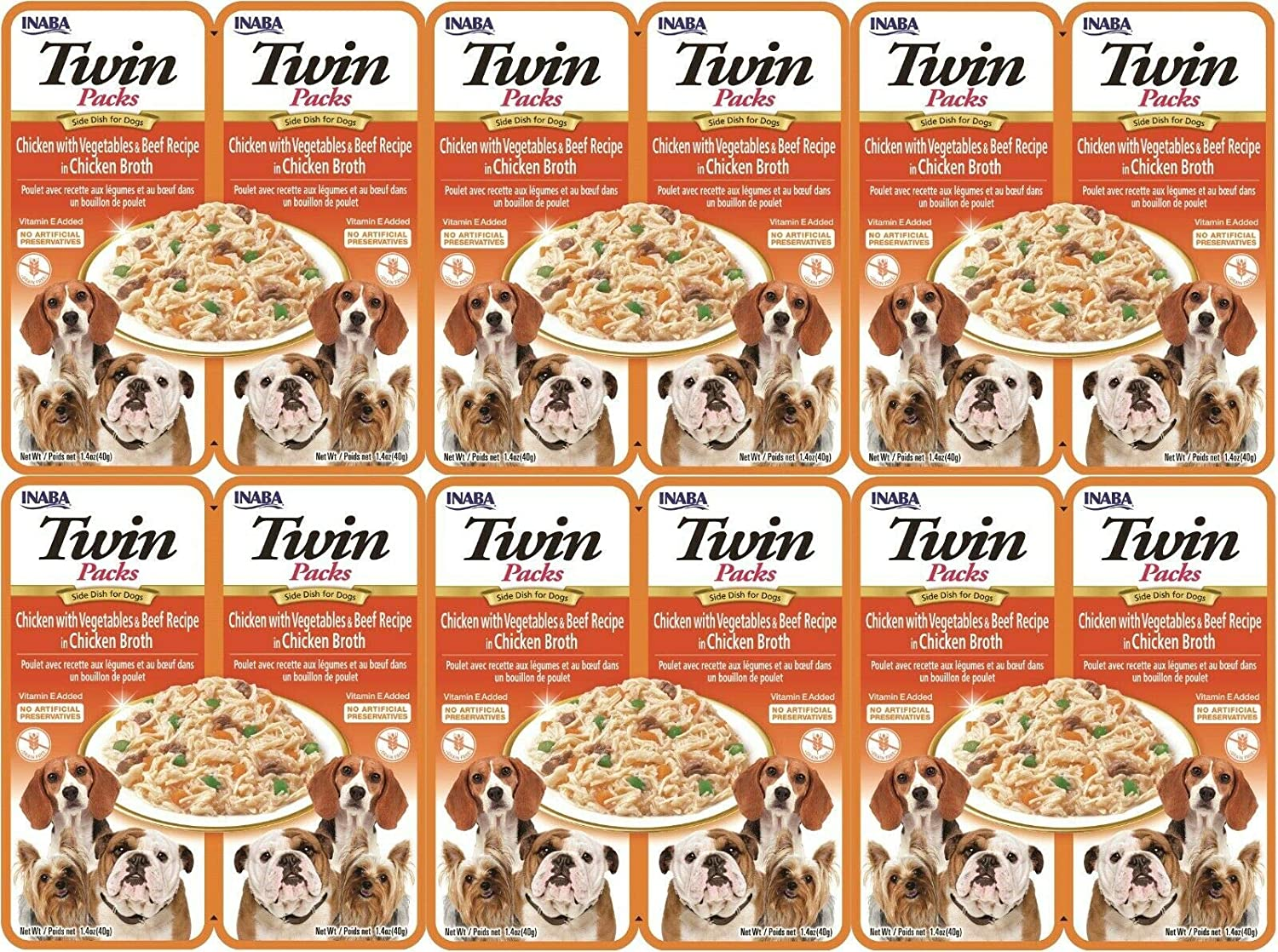 INABA Twin Packs - Side Dish Treat for Dogs - Chicken with Vegetables, Beef or Cheese in Chicken Broth