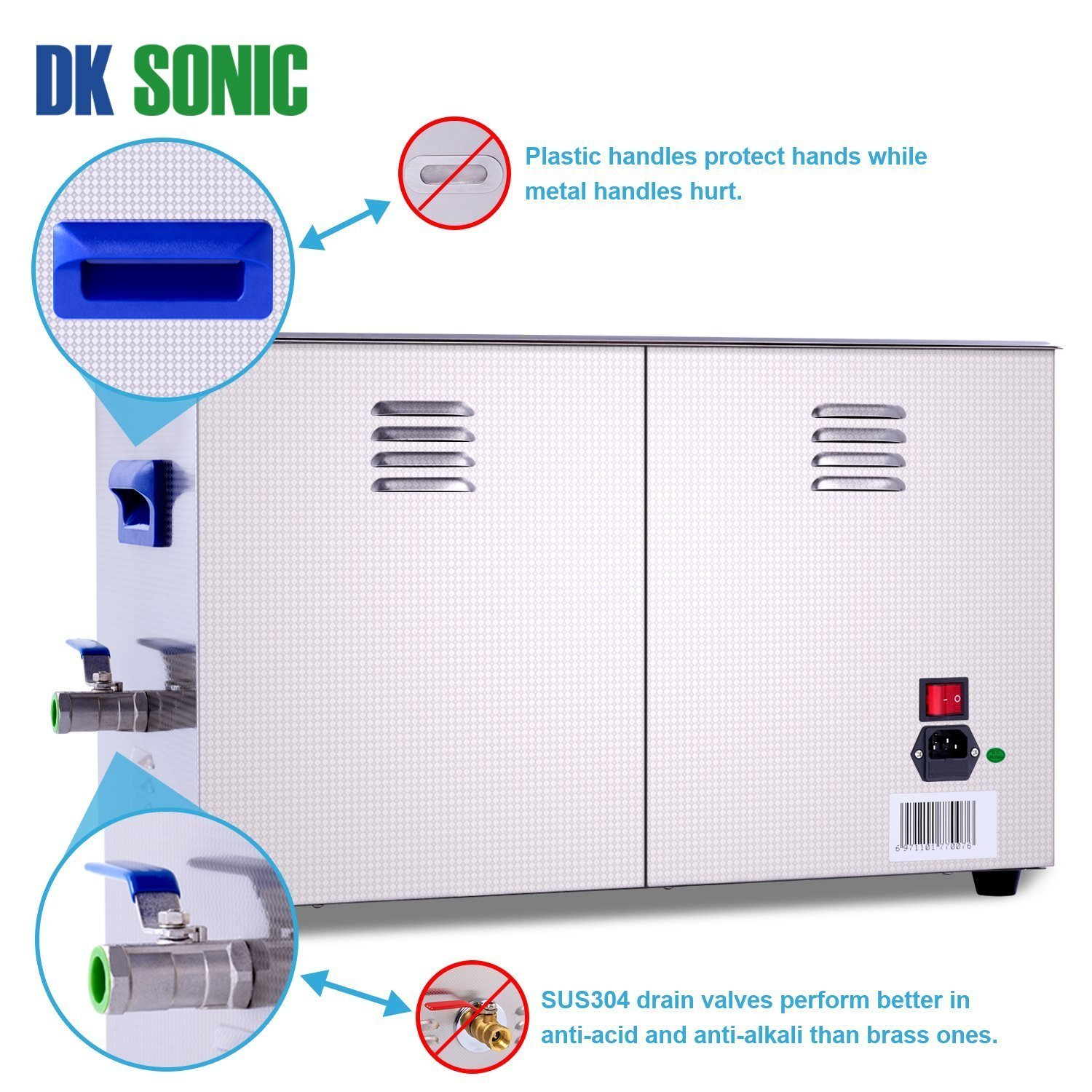 Lab Digital Ultrasonic Carburetor Cleaner Heated - DK SONIC 22L 480W Ultrasonic Gun Cleaner for Parts Jewelry Brass Eyeglass Ring Fuel Injector Glasses Record Diamond Circuit Board 28/40KHz by DK SONIC (Image #4)