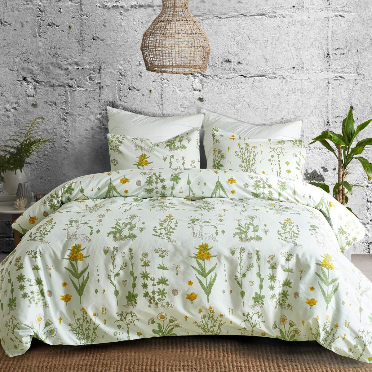 3 PCs Botanical Duvet Cover Set, Modern Flowers Printed Boho Comforter Cover Bedding Sets with Zipper Ties by Smoofy (Image #2)