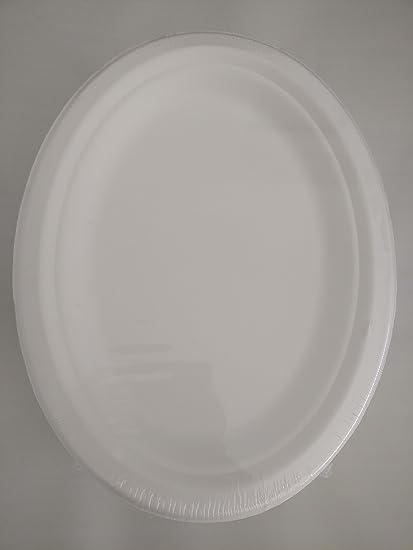 Platos Desechables de caña de azúcar, Bagazo, 26 cm x 19 cm, ovalado