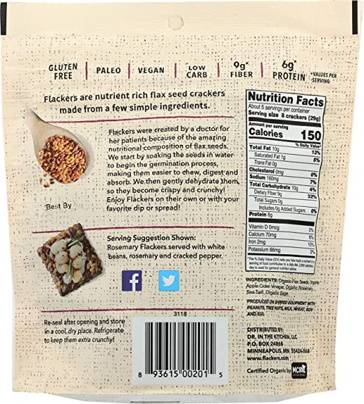 Doctor In The Kitchen Cracker Flaxseed Rosemary, 5-Ounce: Amazon.es: Salud y cuidado personal
