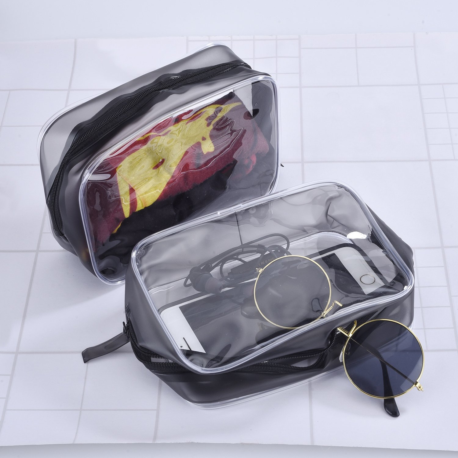 5 Pack Clear PVC Zippered Toiletry Carry Pouch Portable Cosmetic Makeup Bag