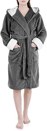 Genuwin Robe for Women Micro Fleece Lounge Bathrobe Full Length and Knee Length Robe S~XL