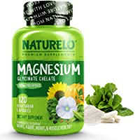 NATURELO Magnesium Glycinate Supplement - 200 mg Natural Glycinate Chelate with...
