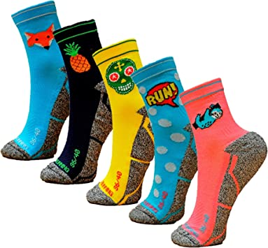 HOOPOE Pack Calcetines Running Mix, 5 Pares, Hombres, Mujer, Divertidos, Foxblue, Skully, Comic, Pineapple, Lazy, Tallas 36-45: Amazon.es: Deportes y aire libre