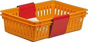 Home Basics PB40230-ORG Basket, Large, Orange, 2-Pack