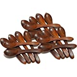 Pure Source India Wooden Masala Spoon for Small Containers, Handmade Wooden Spoon for Tea, Coffee, Sugar, Condiments & Spices, Set of 6 (4 Inch)