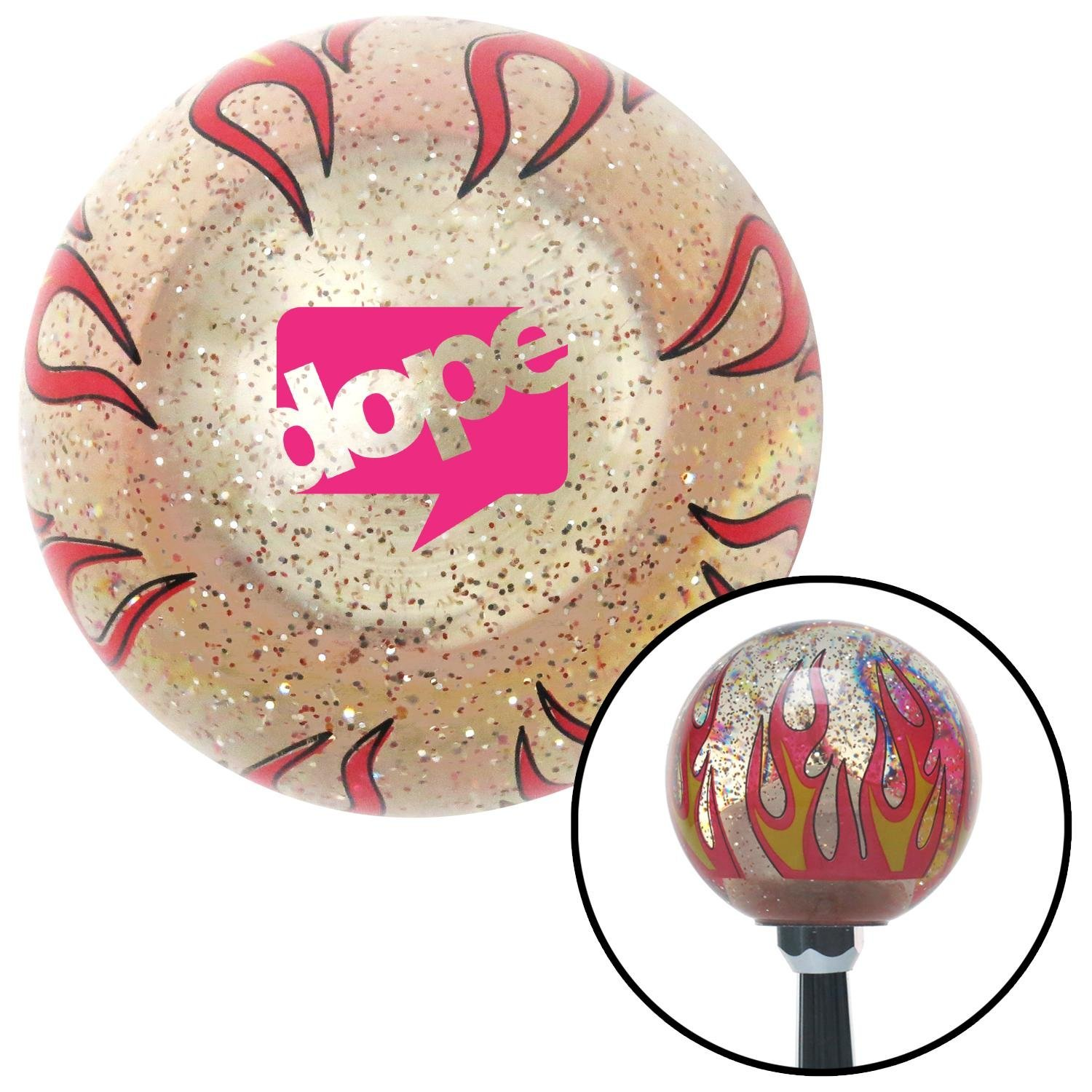 American Shifter 296193 Shift Knob Pink Dope Bubble Clear Flame Metal Flake with M16 x 1.5 Insert