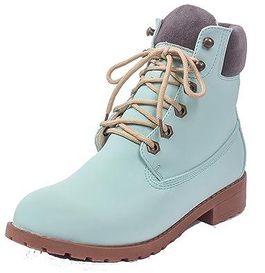 Damen Niedriger Absatz Kurzschaft Schließen Spitz Zehe Stiefel,EuX61 Blau 39 AgeeMi Shoes