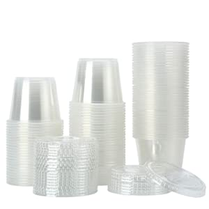 [200Sets-5.5oz] Clear Plastic Disposable Portion Cups with Lids, Souffle Cups, Condiment Cups,Jello Shots, Slime & Medicine Premium Small Plastic Containers