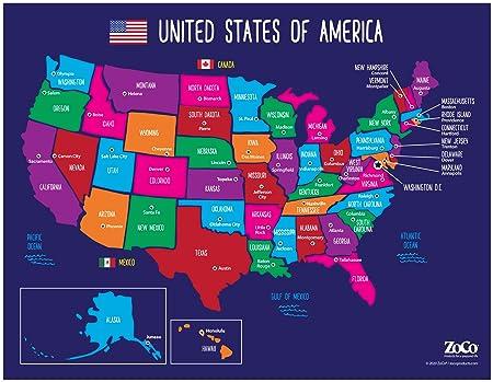 Karte Der Usa Staaten Und Hauptstadte Bunte Us Karte Mit Hauptstadten Amerikanische Karte Poster Usa Karte