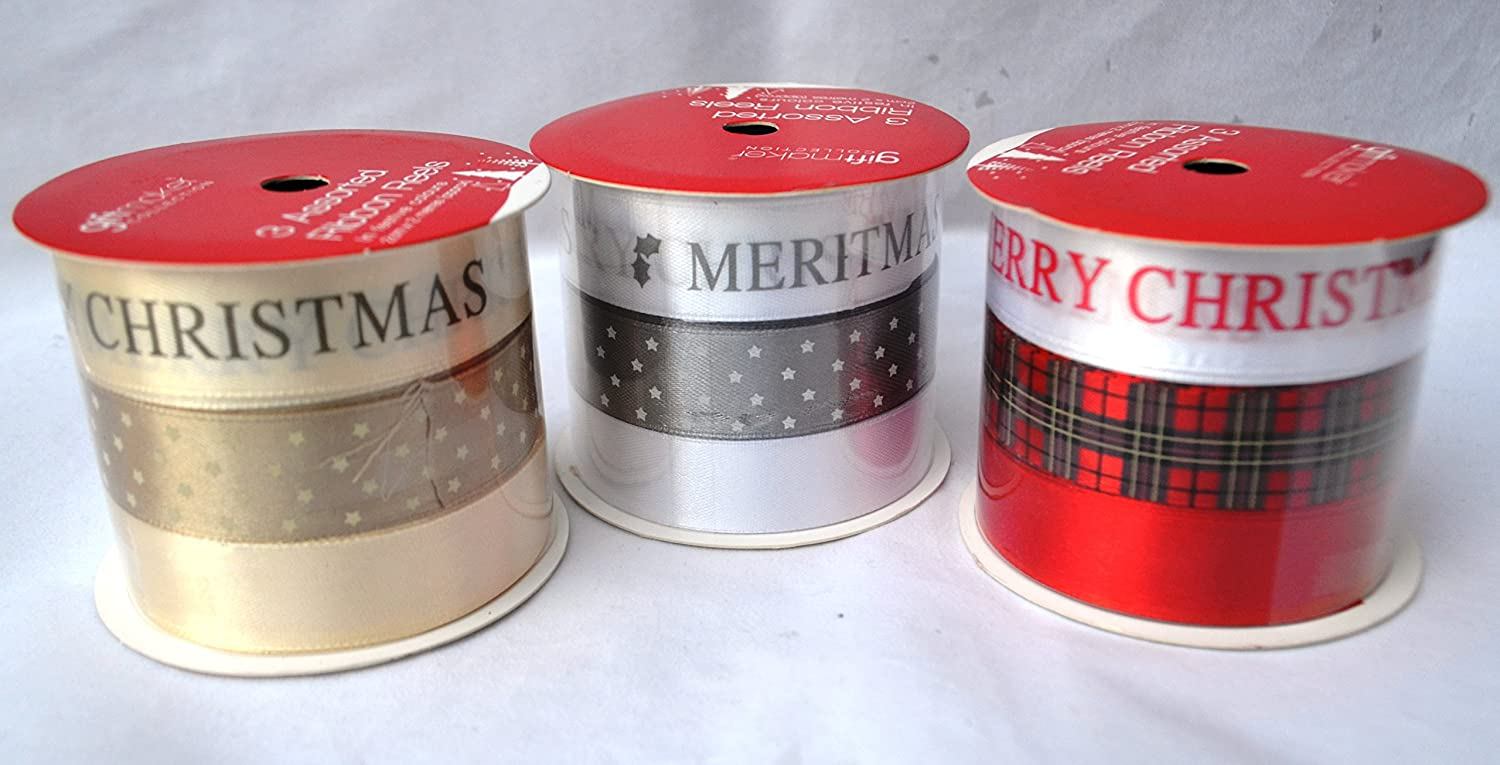 9 x Designs Red Gold Purple Merry ribbons Reels Xmas Pack Anker