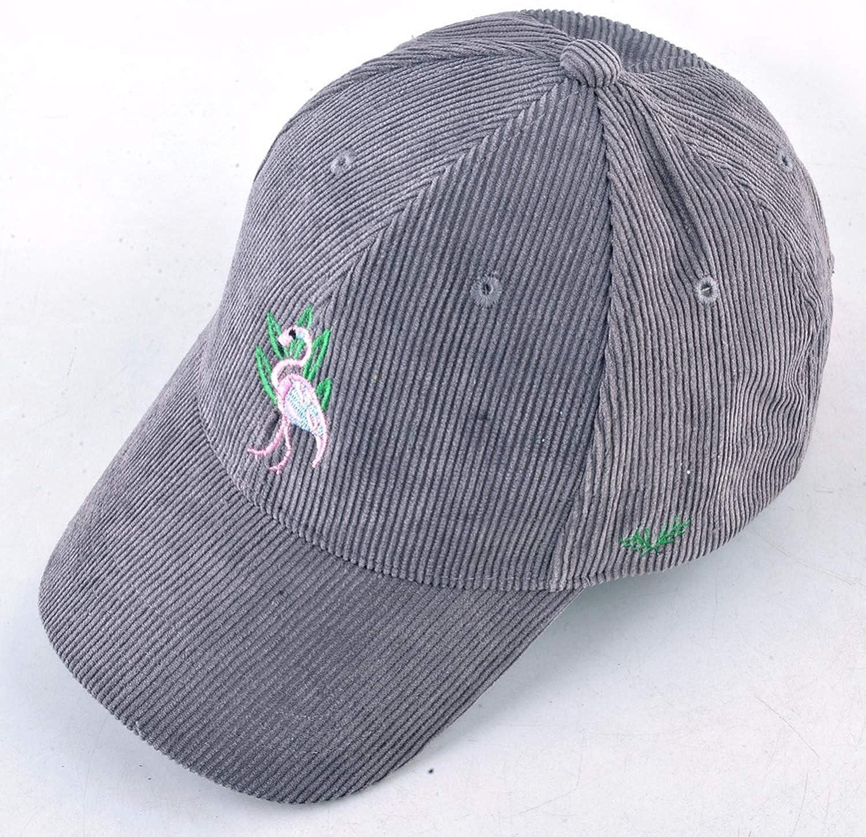 Spring Bone Womens Corduroy Snapback Cap Embroidered Flamingo Hats for Grils Baseball Cap Casual Hip hop hat
