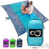 Live Infinitely Sand Free Beach Blanket- 7 Person 9' x 10' Sand Proof Mat – Travel Friendly for Festivals & Hiking…