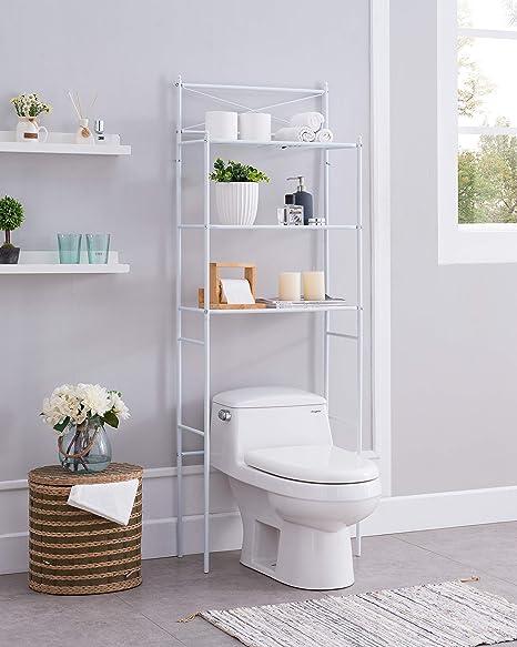 Pleasing None White Metal 3 Shelf Bathroom Space Saver Storage Organizer Over The Rack Toilet Cabinet Shelving Towel Rack With X Design Interior Design Ideas Inesswwsoteloinfo