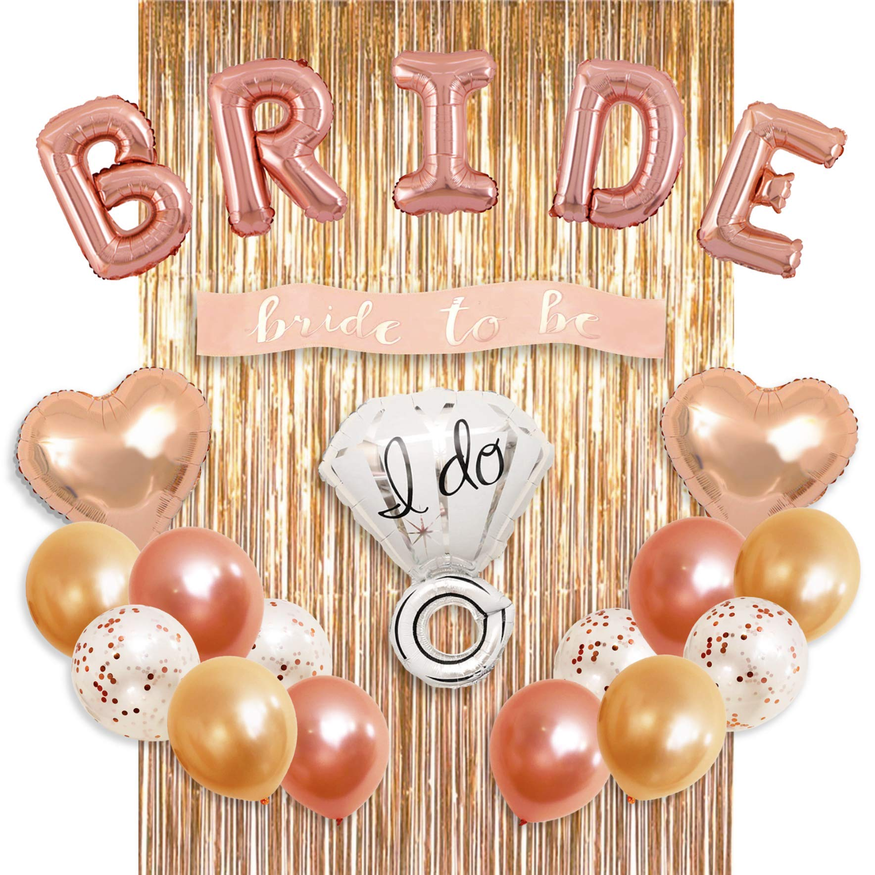 Bachelorette Party Decorations Bridal Shower kit - BRIDE Foil Balloon, Ring Foil Balloon, 2 Heart Foil Balloons, 12 Latex Balloons, Metallic Foil Fringe Curtains, Party Supplies by MM Design by MM Design