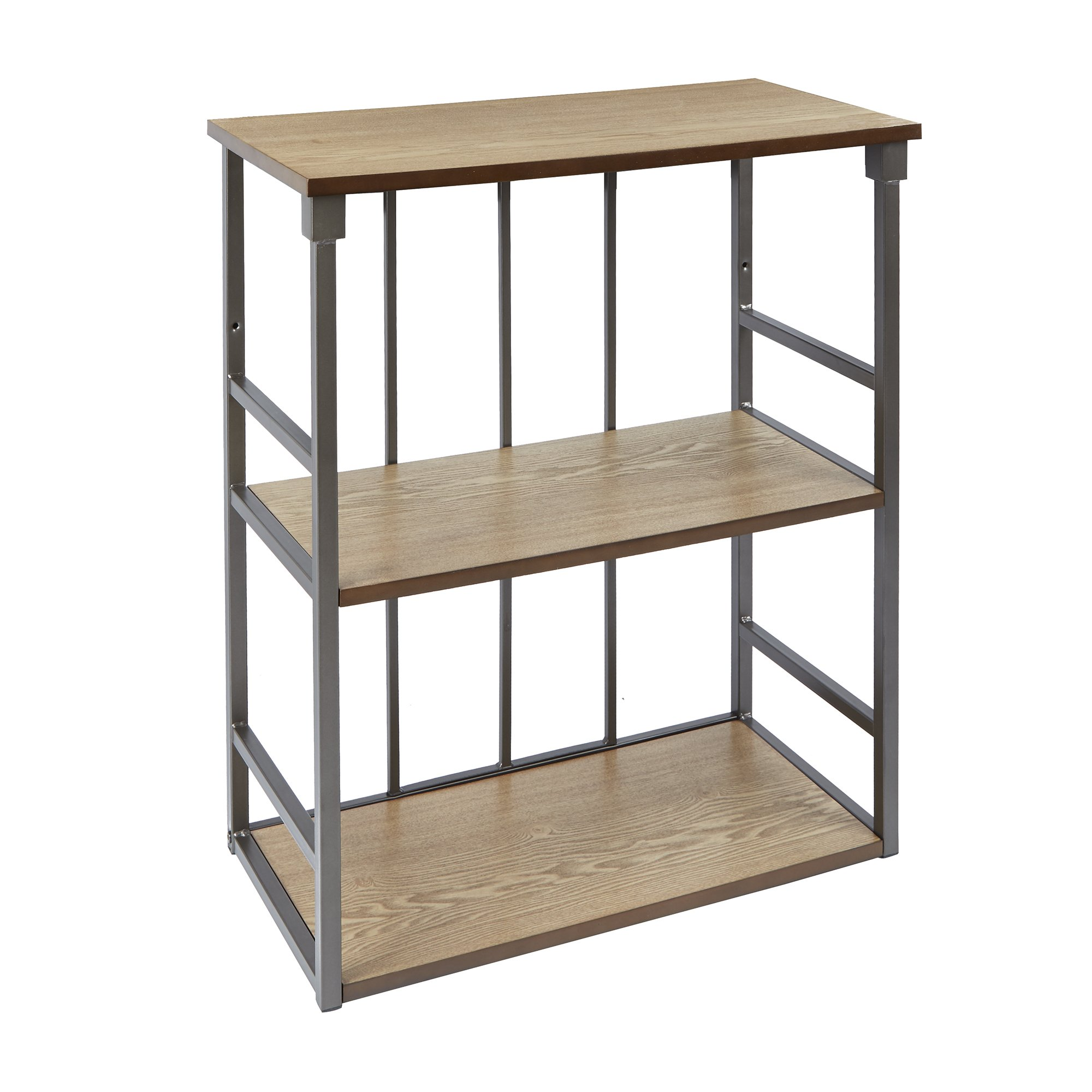 Silverwood Mixed Material Bathroom Collection 3-Tier Wall Shelf 3, 24'' W x 28'' H, Gunmetal