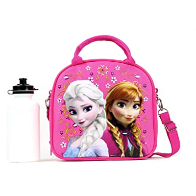 Disney Frozen Lunch Box Carry Bag with Shoulder Strap and Water Bottle (PINK).: Kitchen & Dining