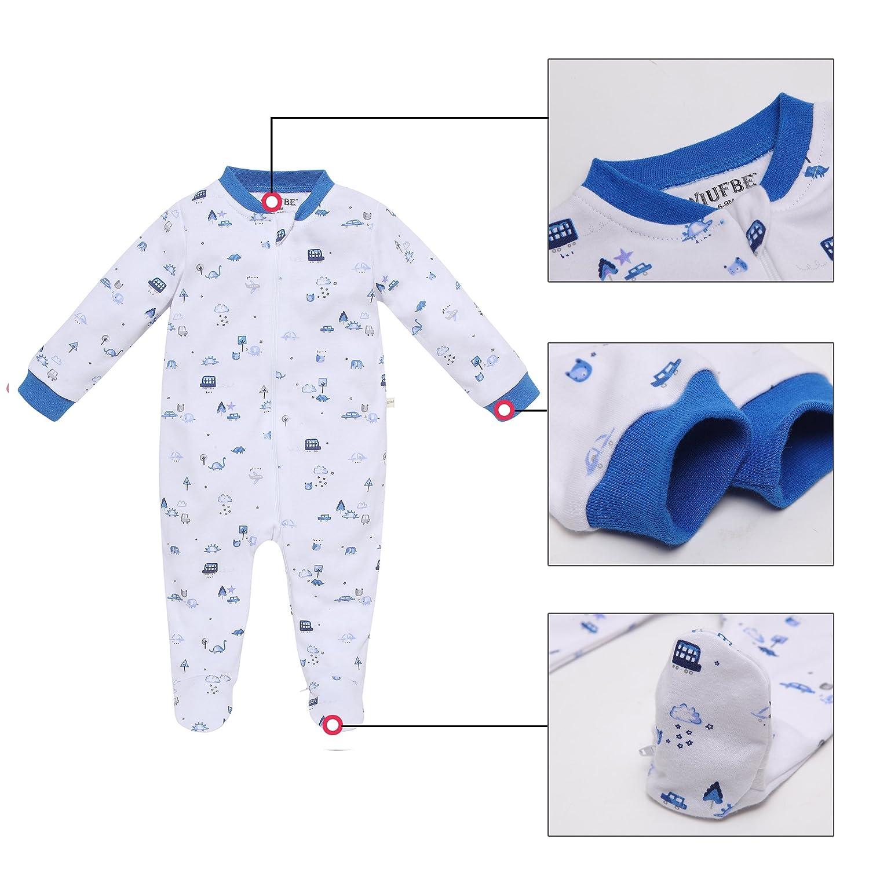 b2fe76c82f12 Amazon.com  WIUFBE Footed Pajama Baby Boys Girls Sleeper Long Sleeve ...