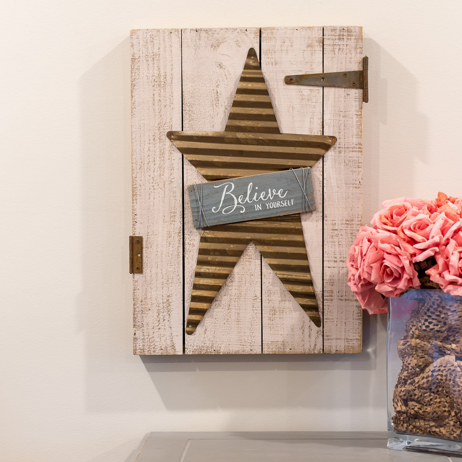 Honey and Me Believe in Yourself Country Blue 21 x 15 Galvanized Star Pallet Wood Wall Sign Plaque