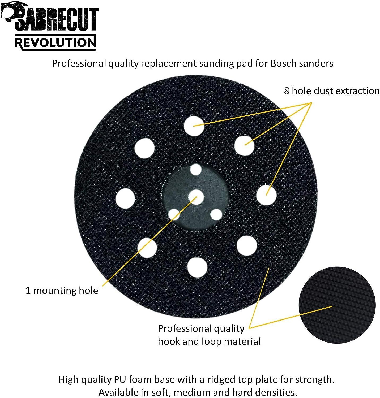 SabreCut OSSCSPB125H 125 mm 8 agujeros de densidad dura aleatoria gancho y almohadilla de respaldo de bucle para Bosch PEX12 PEX125 PEX400