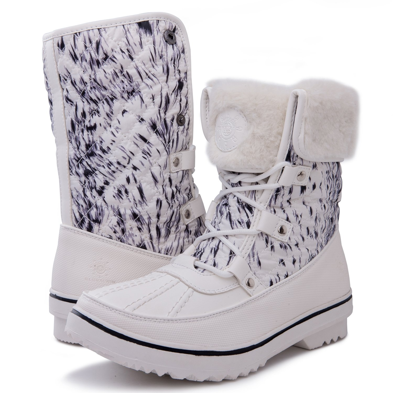 GLOBALWIN Women's 1632 Black Grey Snow Boots B072FQ4J47 9.5 B(M) US|1706white Print