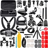 TryAce 58-In-1 Action Camera Accessory Kit for GoPro Hero 7 6 5 4 3 Session, DJI OSMO Action SJ4000/5000, Nikon and Sony Sports DV in Swimming Rowing Climbing Bike Riding Camping and More