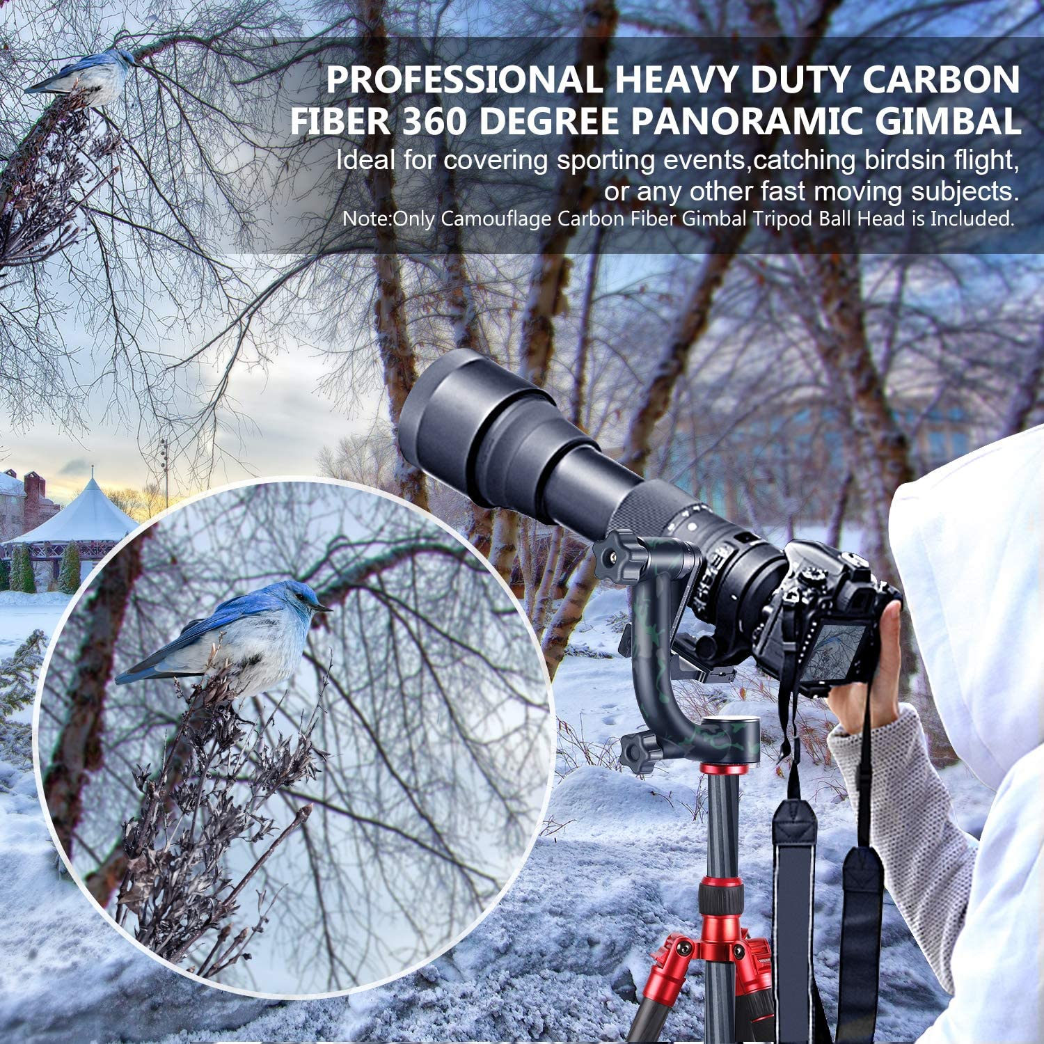 Neewer Professional Gimbal Head Tripod Head Carbon Fiber Heavy Duty 360 Degree Panoramic with Arca-Swiss Standard 1//4 inch QR Plate for DSLR Cameras up to 30pounds//13.6kilogram Camouflage
